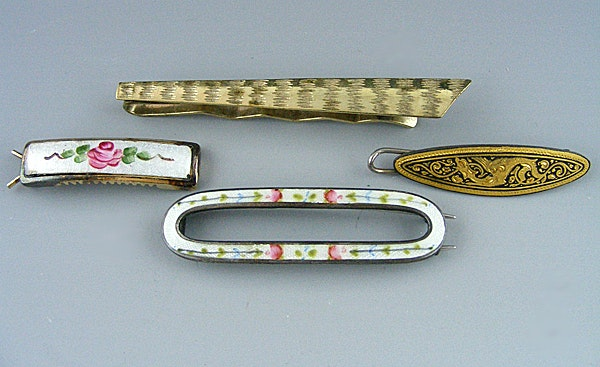 Guilloche Enamel Barrettes and Metal Tie Clip