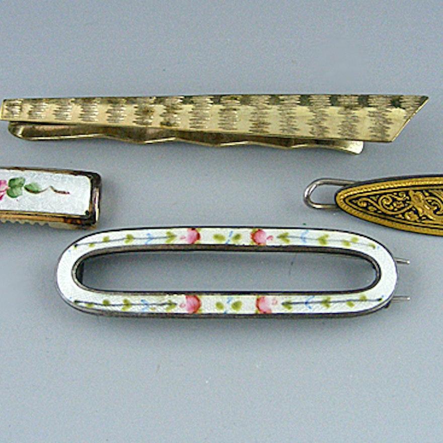 Guilloche Enamel Barrettes and Metal Tie Clip