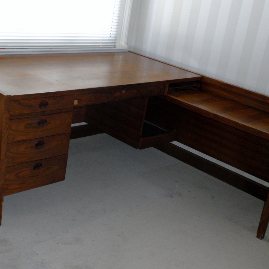 Vintage Oak L Shaped Desk