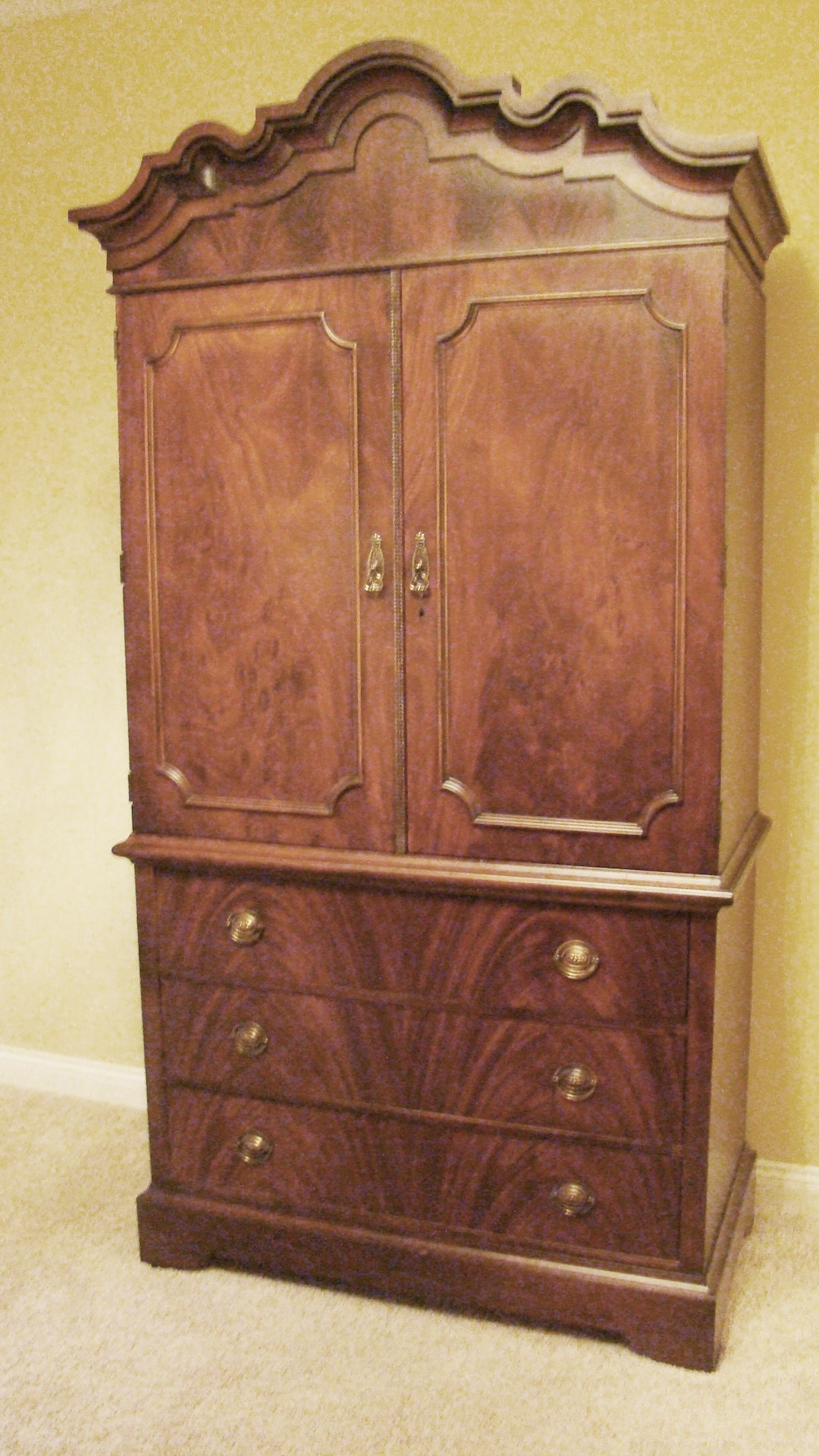 Romwebber Distressed Wood Armoire Ebth
