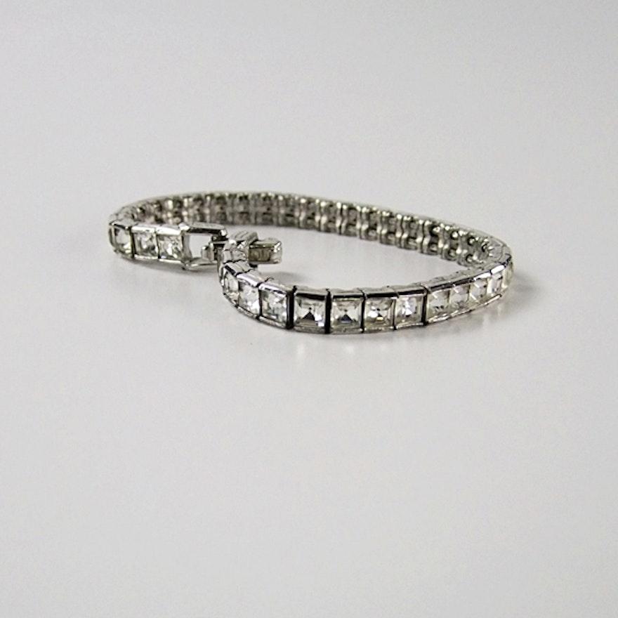 Ciner Vintage Tennis Bracelet With Emerald Cut Clear Crystal Rhinestones