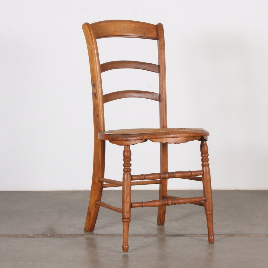 Antique Ladder Back Chair with Round Cane Seat ... - Antique Ladder Back Chair With Round Cane Seat : EBTH