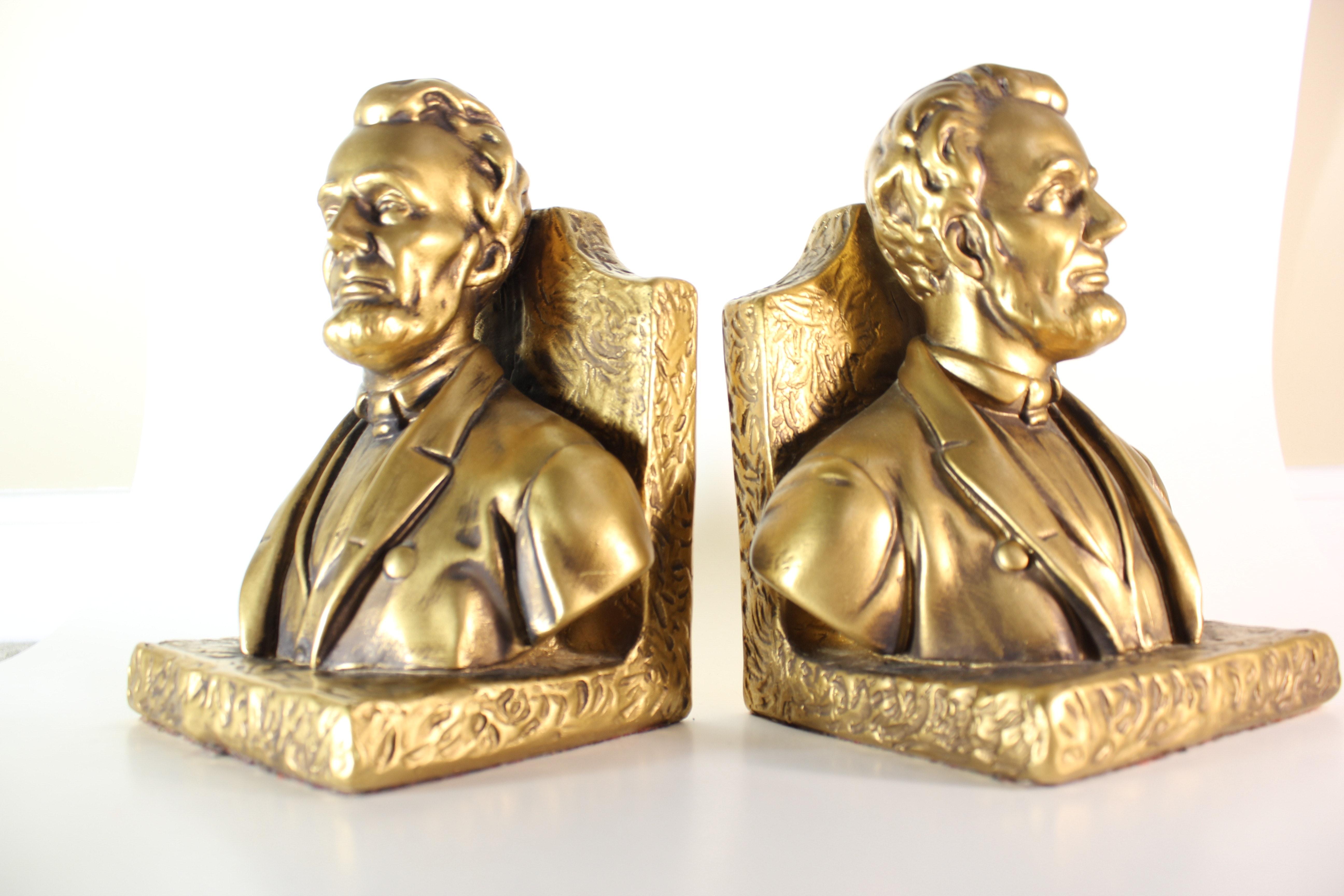 Set of Vintage Gold Abraham Lincoln Bookends