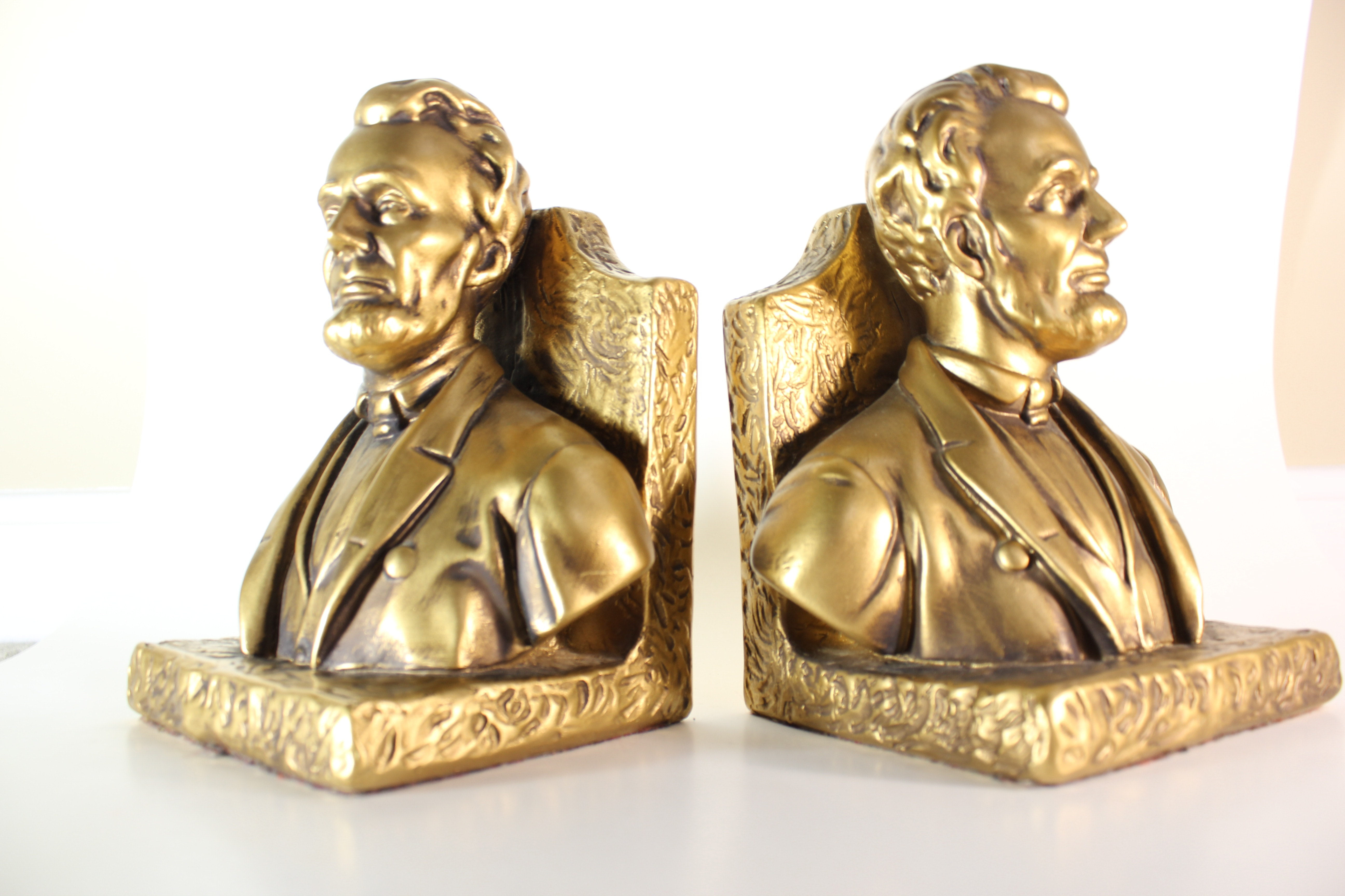 Set of Vintage Gold Abraham Lincoln Bookends