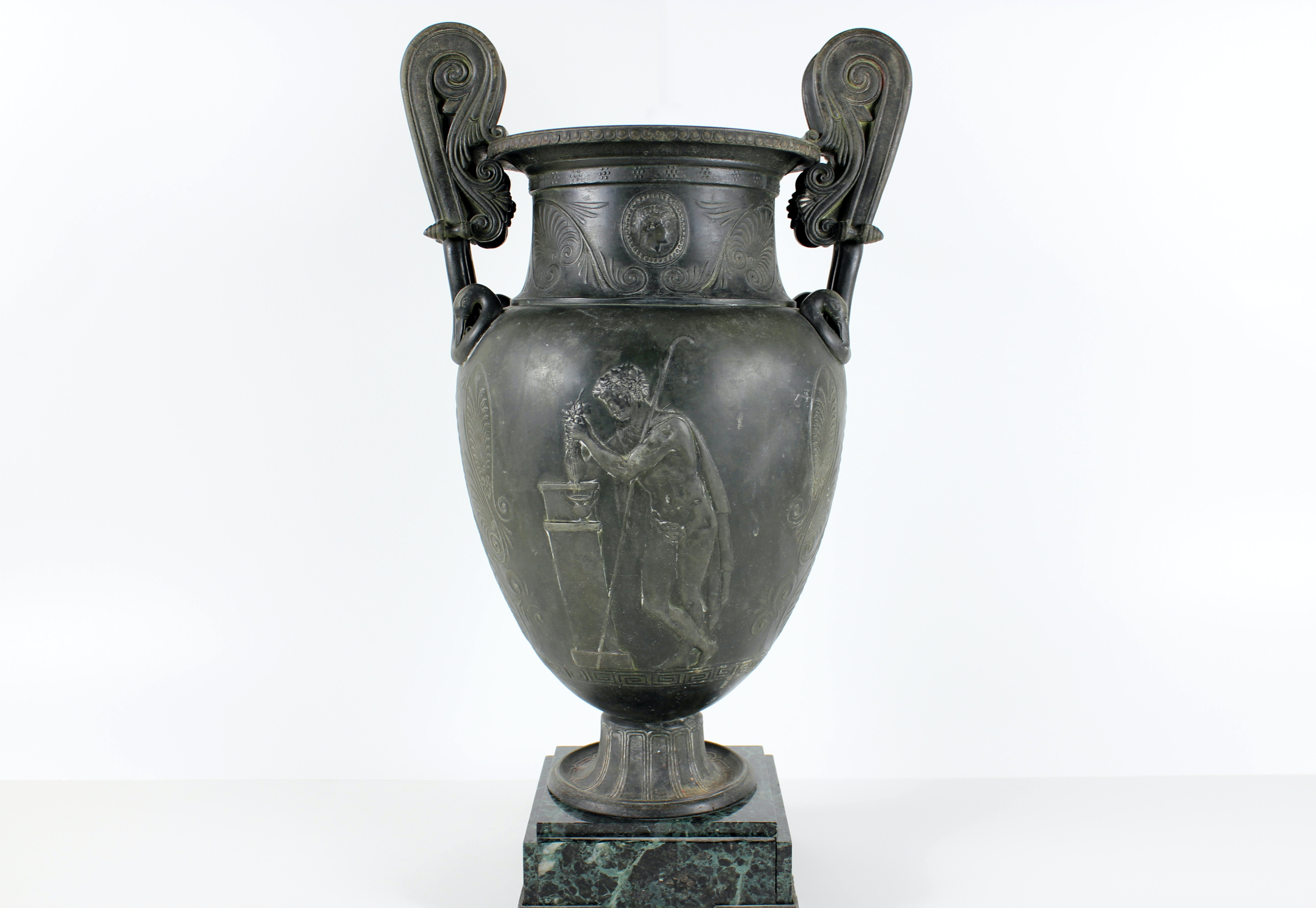 Beautiful Urn with Marble Base & Hellenic Design