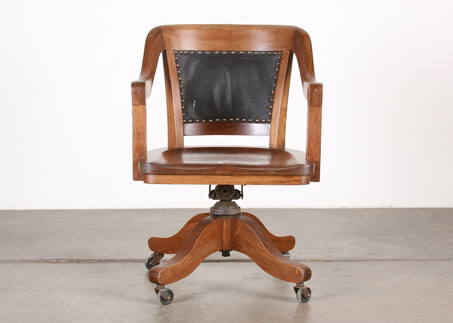 B.L. Marble Chair Company Walnut Desk Chair on Casters