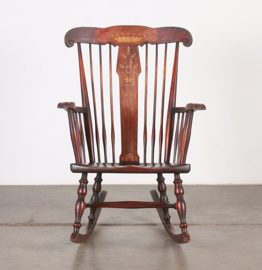 Antique cane rocking chairs - Robert Mitchell Antique Rocking Chair With Marquetry And Mother Of Pearl Inlay