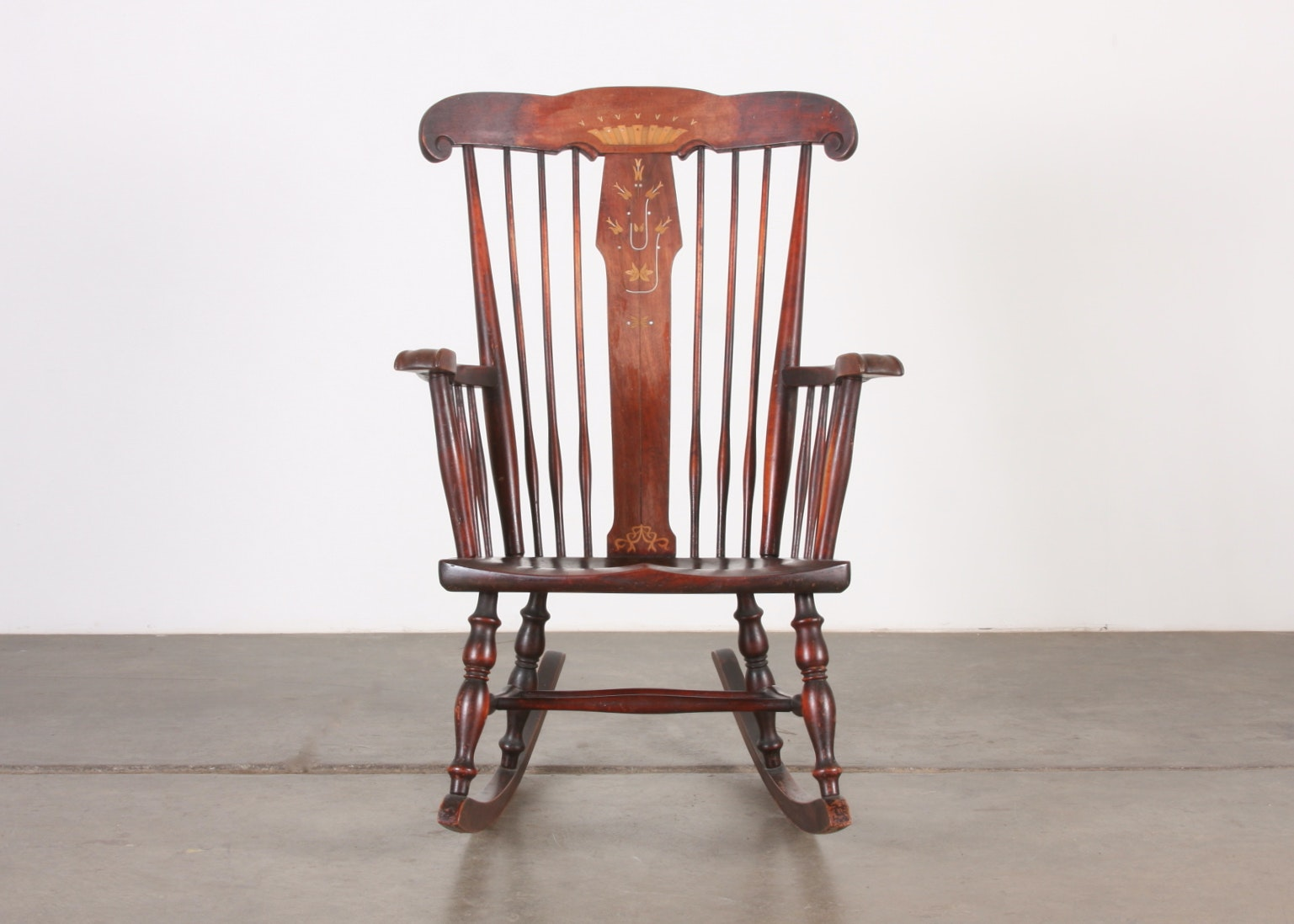 Robert Mitchell Antique Rocking Chair With Marquetry And Mother Of Pearl  Inlay ...