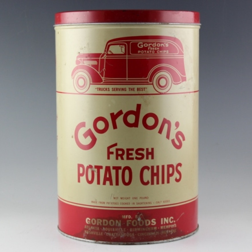 Vintage Gordon's Potato Chip Tin