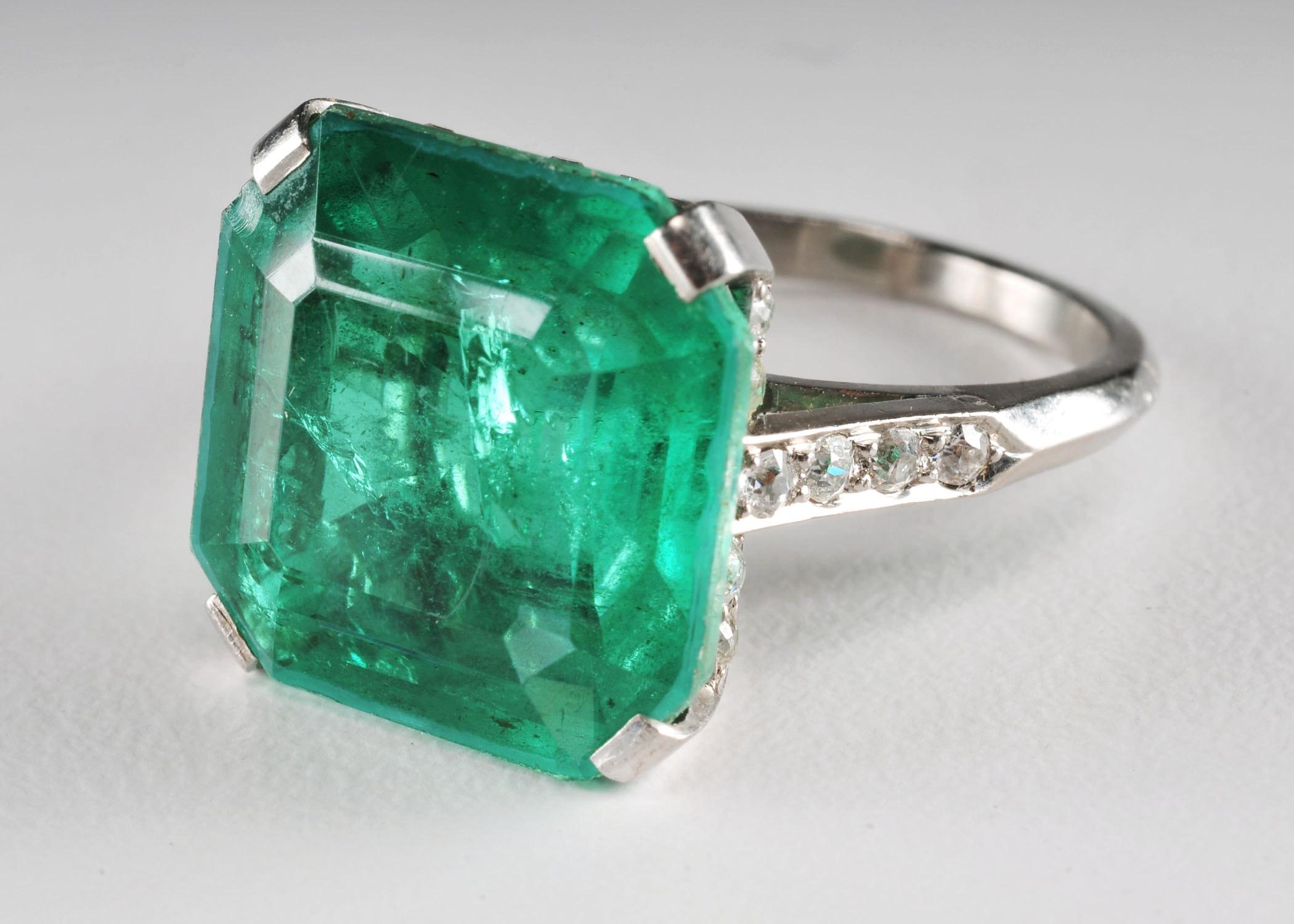 Platinum Art Deco Diamond and Quartz Ladies Ring