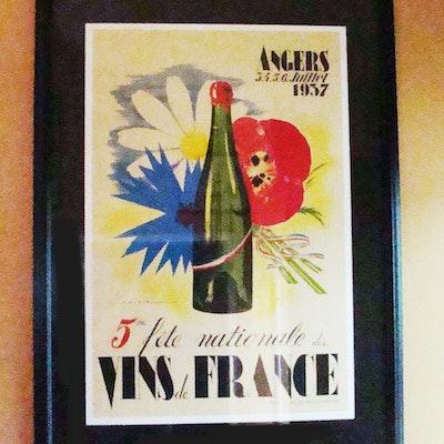 French Wine Angers 1937 Flowers France Drink Framed Vintage Ad Art Poster