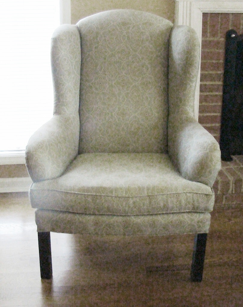 Blue Green And Tan Wingback Chair