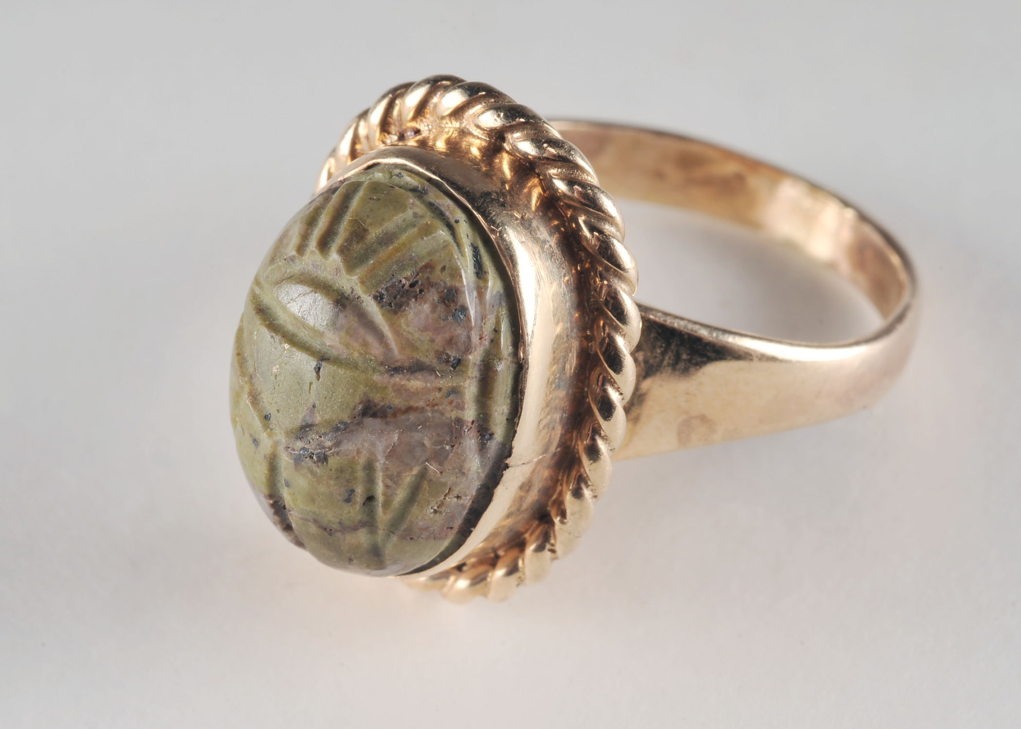 Lady's 14 K yellow gold carved scarab ring