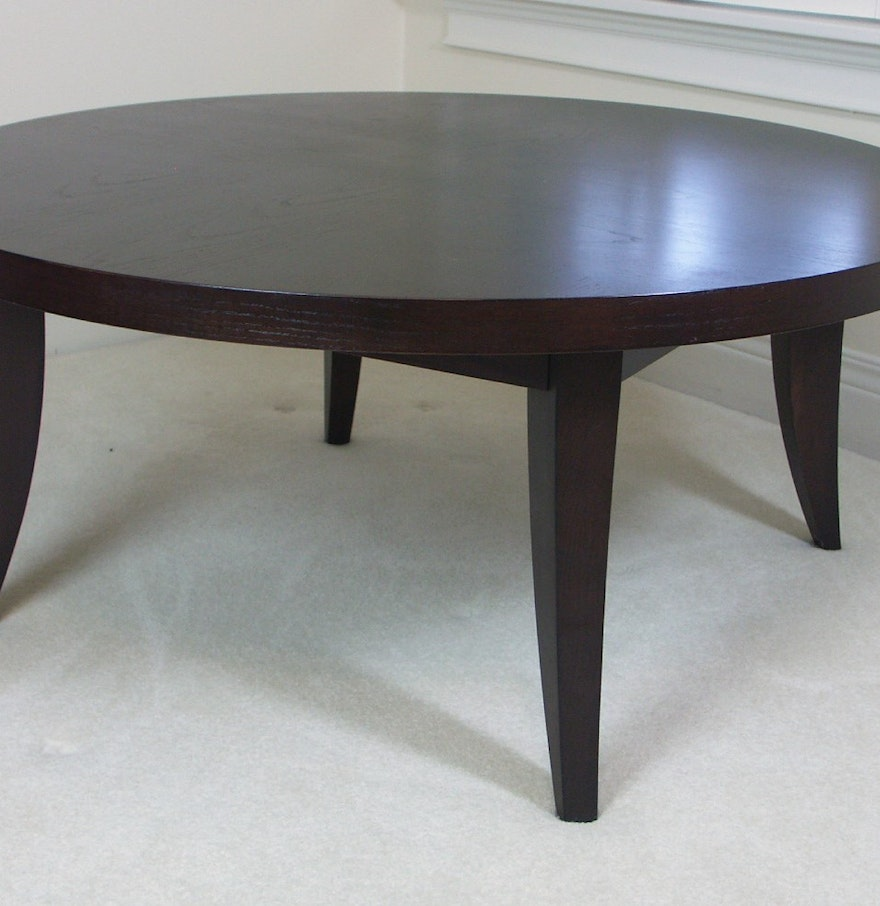 Solid Cherry Round Coffee Table Ebth