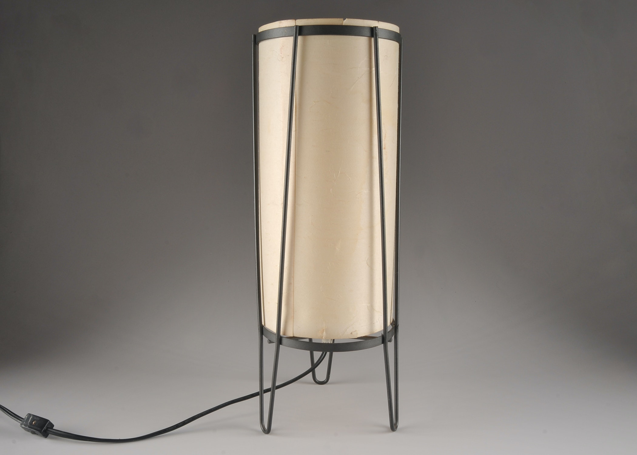Mid Century Modern Rice Paper Table Lamp With Black Iron Base ...