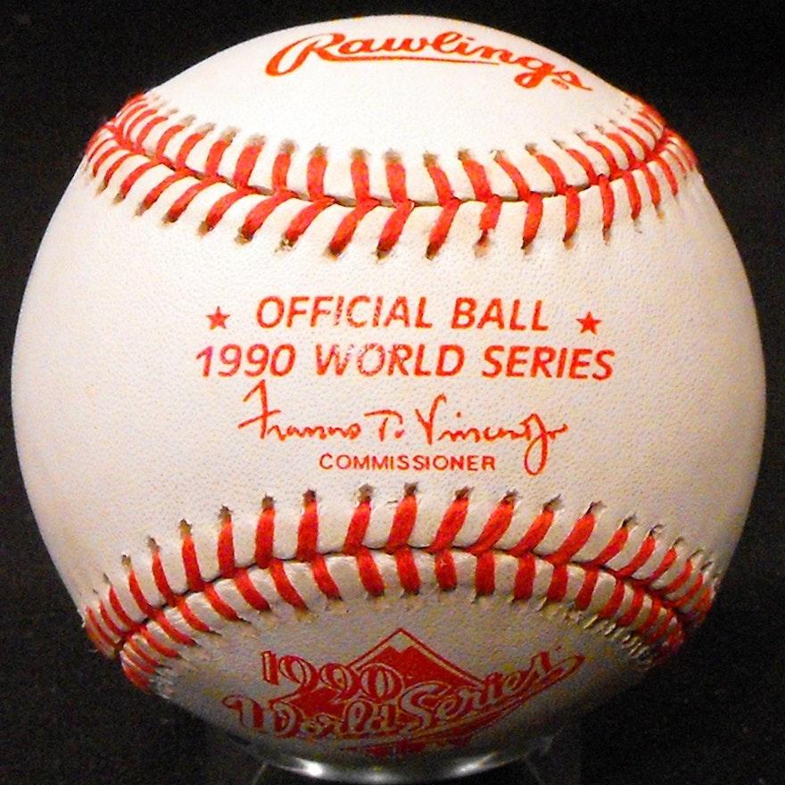 1990 Official Rawlings World Series Baseball 2 Reds Kahn S Team Sets Ebth