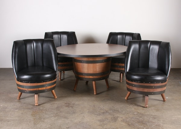 1960 39 s 70 39 s vintage whiskey barrel dining set with table 4 black vinyl chairs ebth. Black Bedroom Furniture Sets. Home Design Ideas