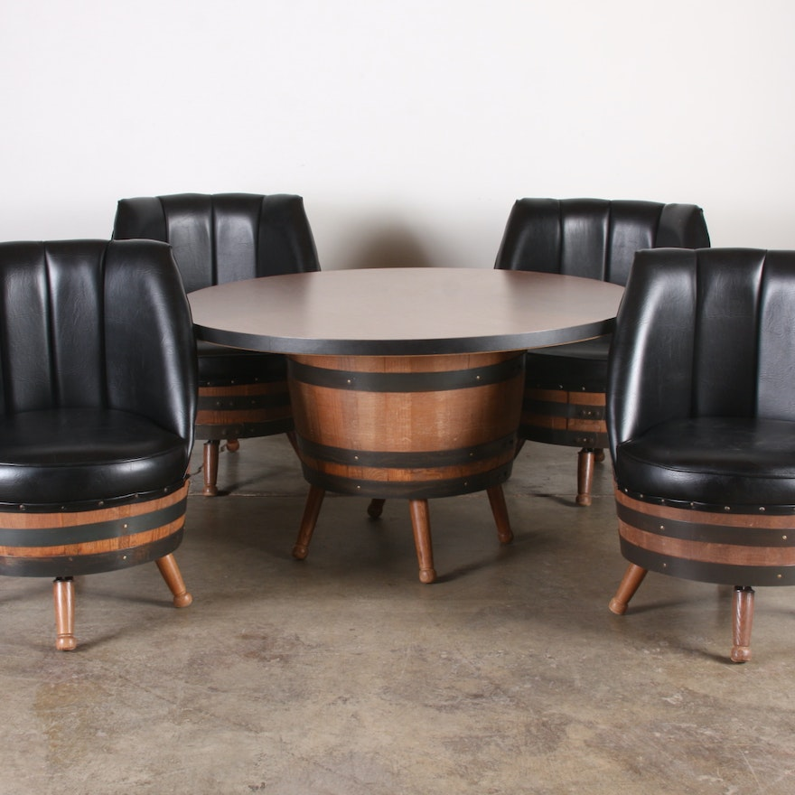 1960's - 70's vintage whiskey barrel dining set with table & 4 black vinyl  chairs ... - 1960's - 70's Vintage Whiskey Barrel Dining Set With Table & 4 Black