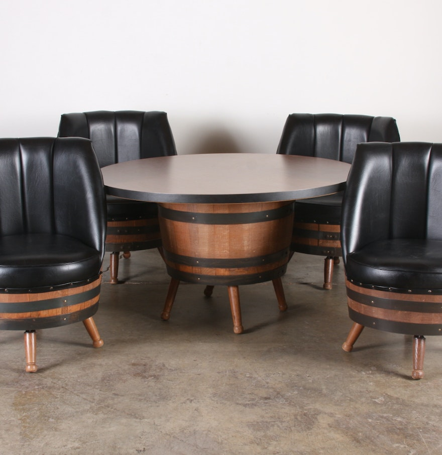 Barrel Table And Chairs For Sale: 70's Vintage Whiskey Barrel Dining Set With Table