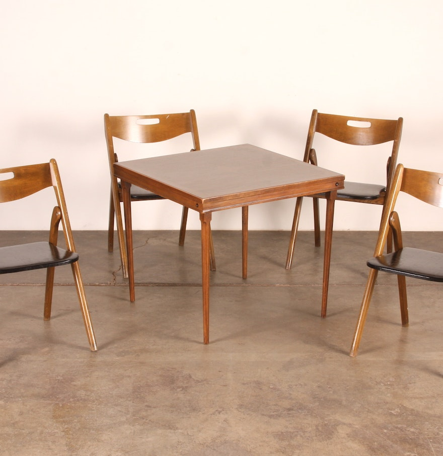 Vintage wooden card table and folding chairs ebth
