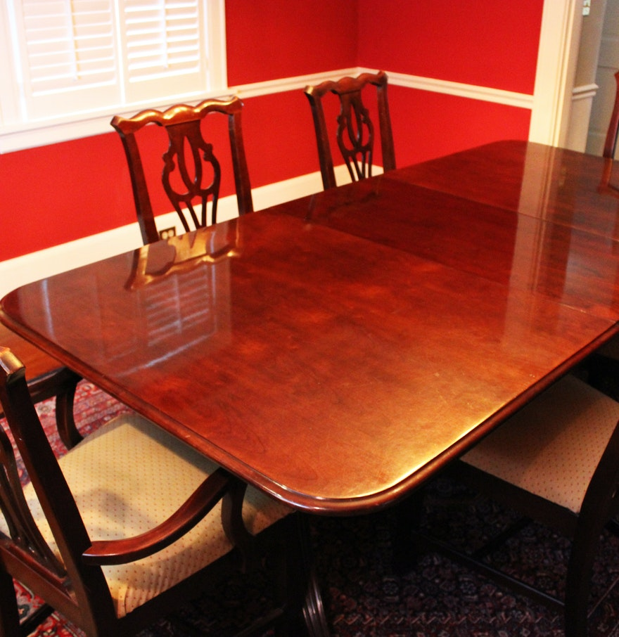 Thomasville cherry formal dining room set cherry tables for Cherry dining room chairs