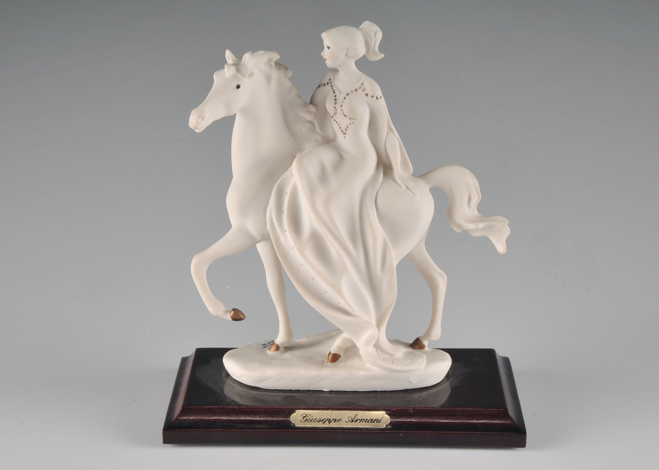 Signed Florence Giuseppe Armani Mounted Figurine of a Woman on Horseback