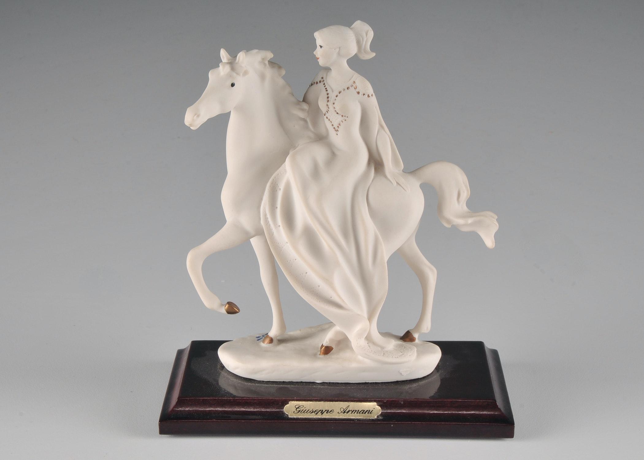 Signed Florence Giuseppe Armani Mounted Figurine of a Woman on Horseback