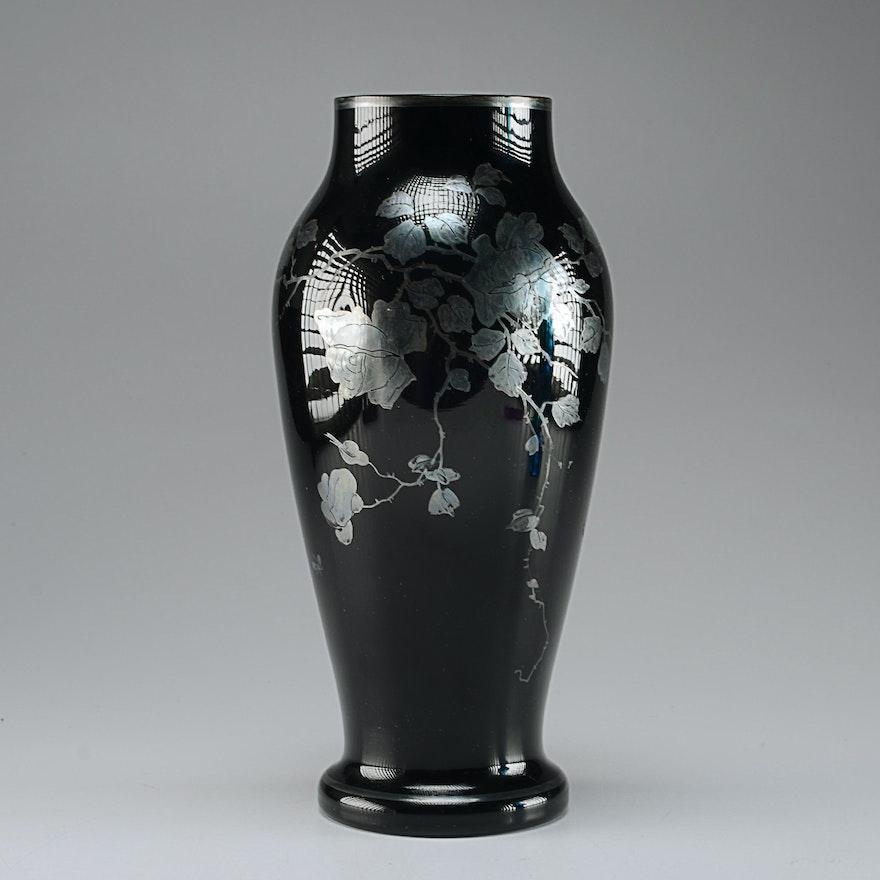 Black Amethyst Glass Vase Czechoslovakia Ebth