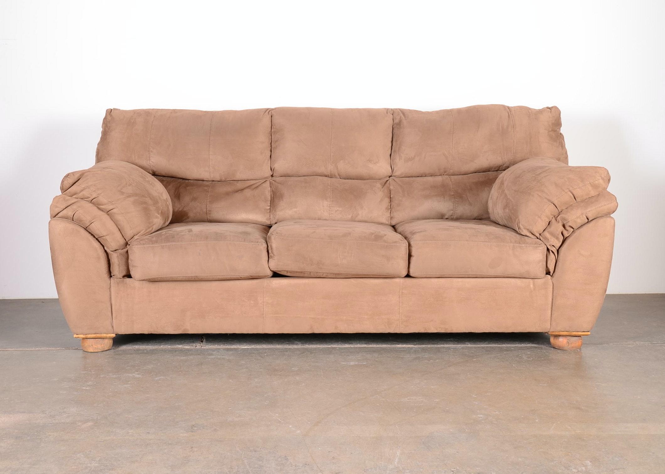 light brown microsuede sofa ebth rh ebth com Brown Microsuede Sofa Attracts Dust Gray Microsuede Sectional