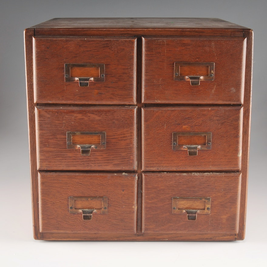 Antique Shaw and Walker Oak Library Index Card Cabinet ... - Antique Shaw And Walker Oak Library Index Card Cabinet : EBTH