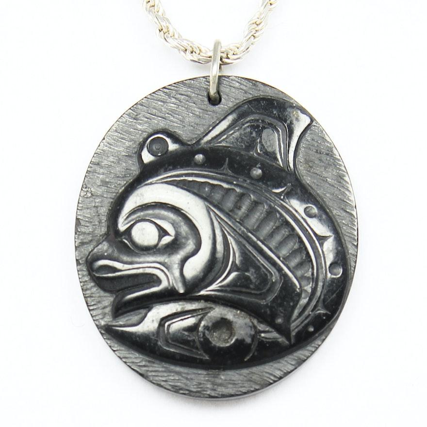 Carved argillite killer whale pendant sterling necklace by artist carved argillite killer whale pendant sterling necklace by artist denny dixon aloadofball Choice Image