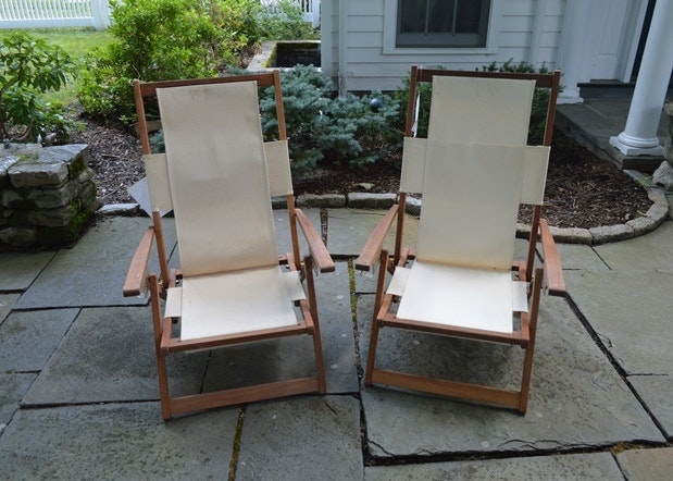 Beau Crate And Barrel Canvas And Wood Folding Beach Chairs ...
