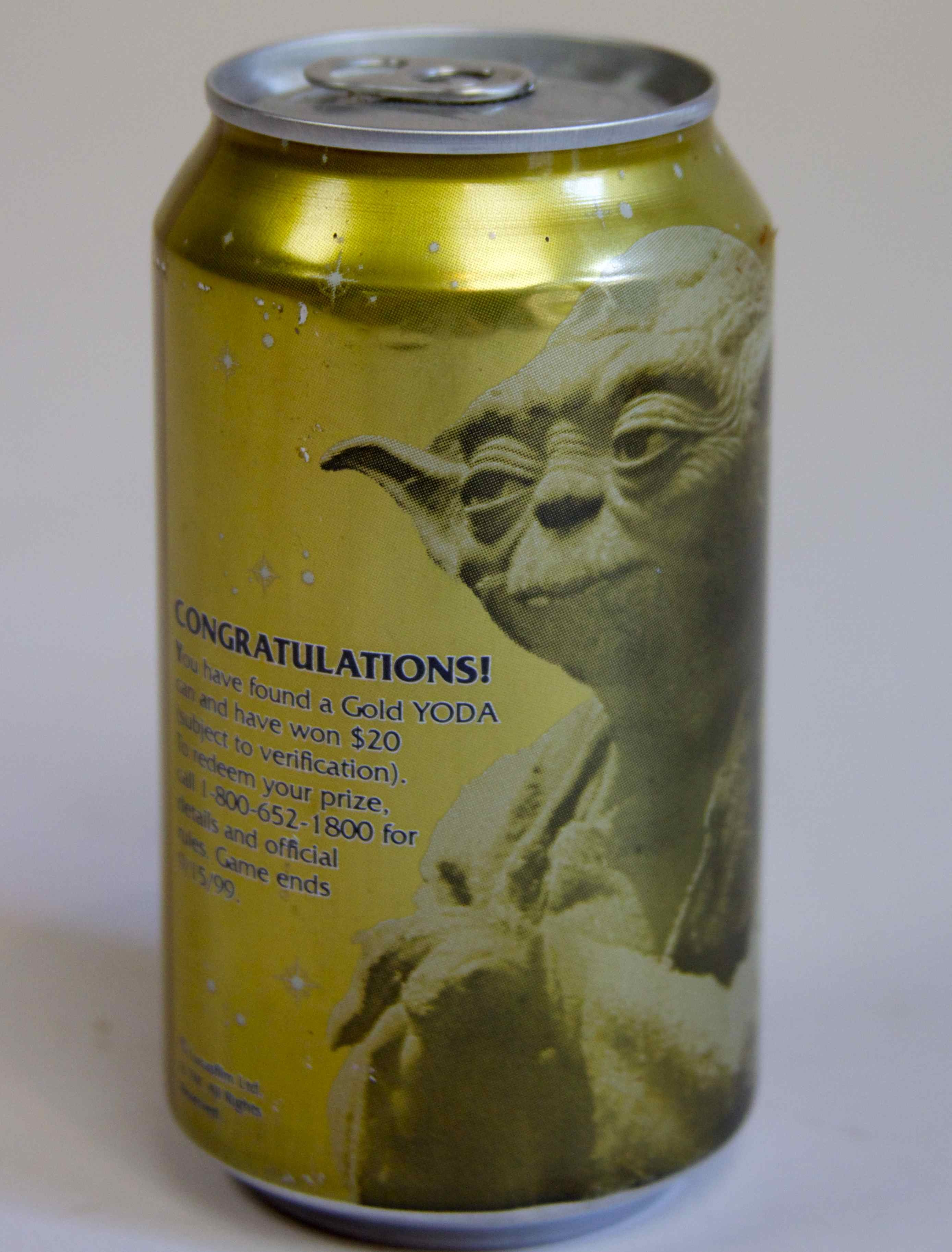 """YODA"" GOLD COLLECTABLE DIET PEPSI CAN (UNOPENED)"