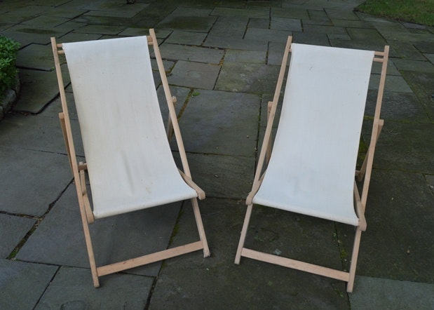 Canvas And Wood Slingback Folding Chairs ...