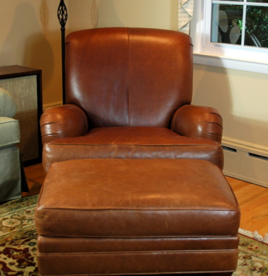 Ethan Allen Leather Club Chair With Ottoman Ebth