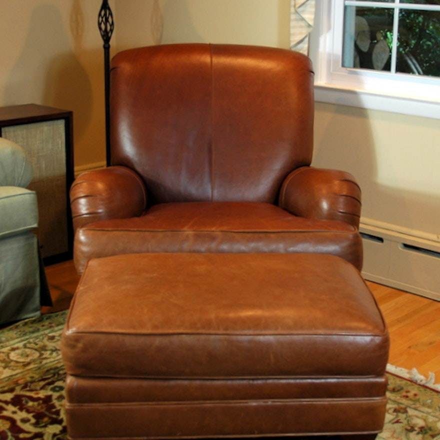 Fabulous Ethan Allen Leather Club Chair With Ottoman Alphanode Cool Chair Designs And Ideas Alphanodeonline
