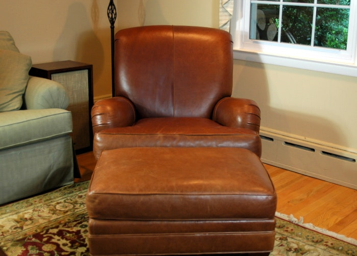 Attirant Ethan Allen Leather Club Chair With Ottoman ...
