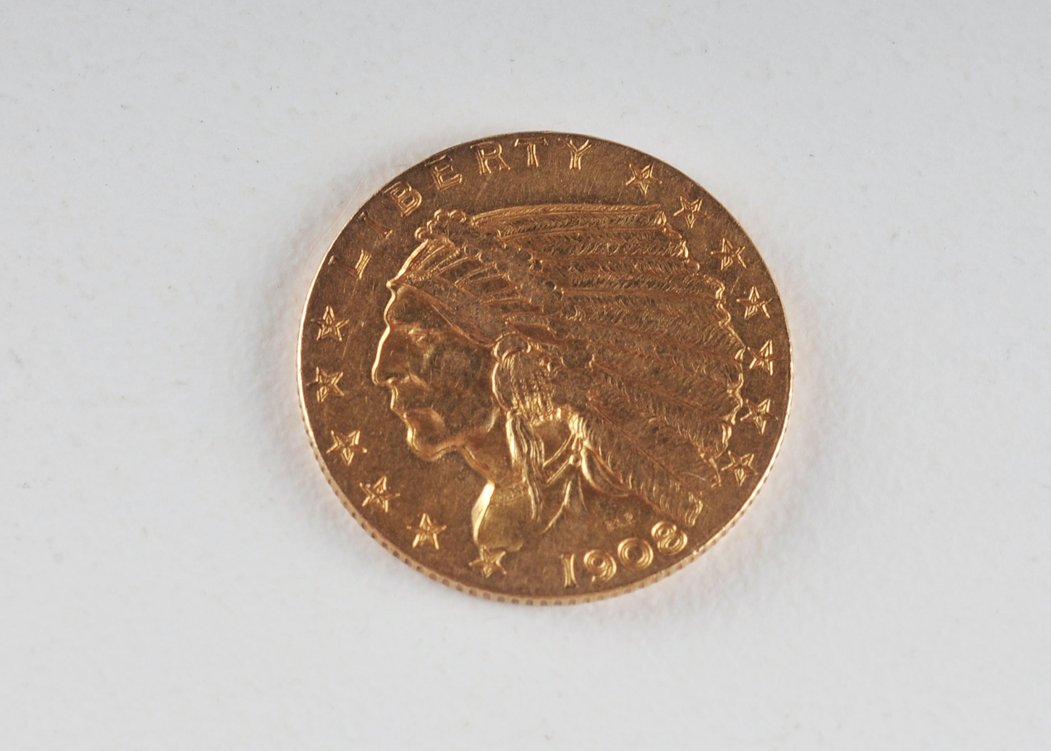First year of issue 1908 $2 1/2 dollar Indian Head gold coin