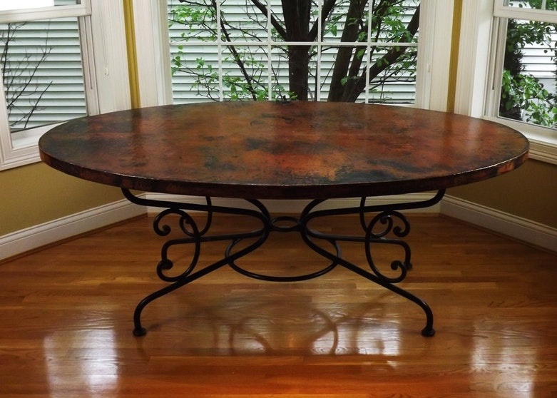 Arhaus Quot Arabesque Quot Hammered Copper And Iron Dining Table