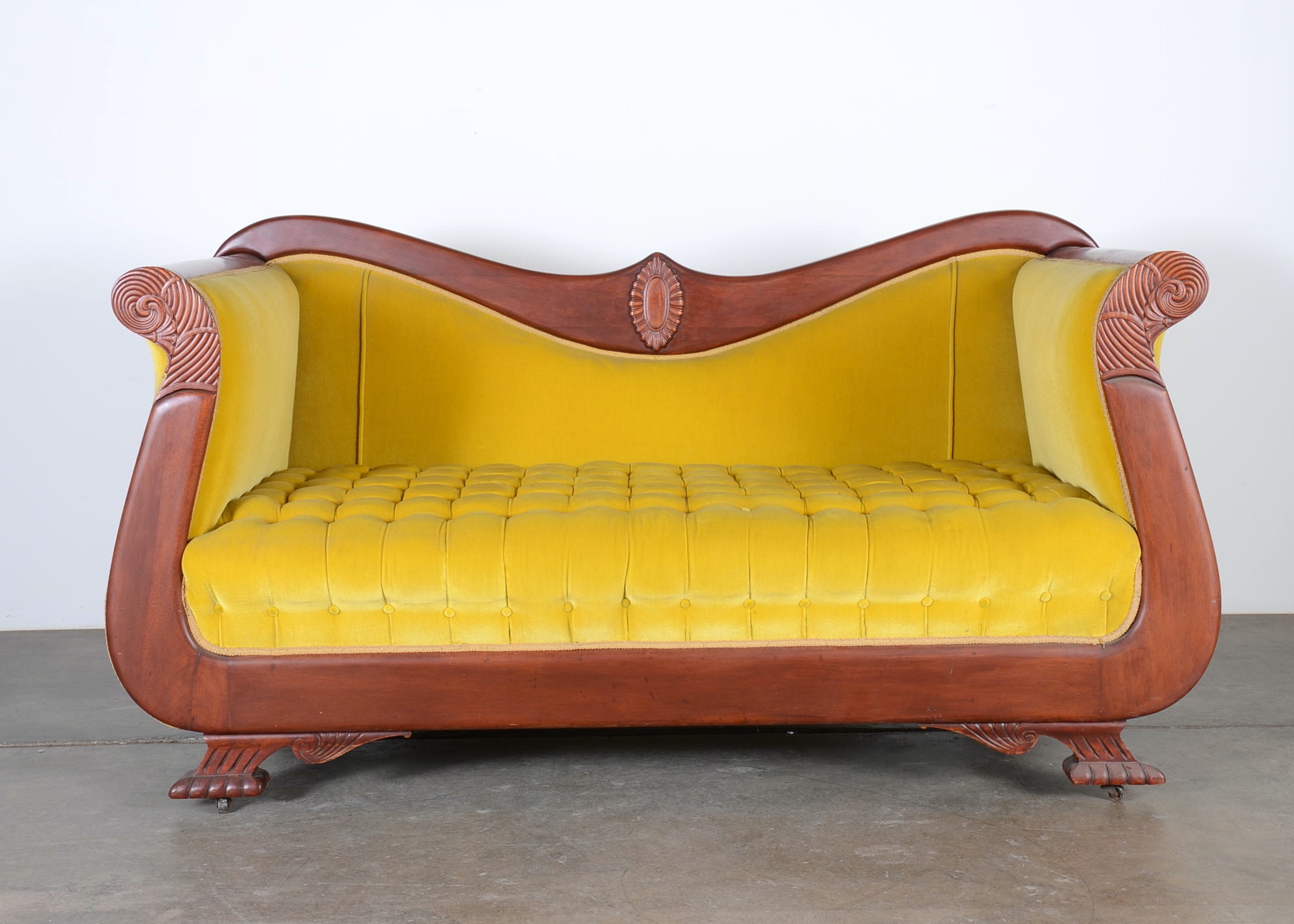 Stunning Victorian Sofa With Citrine Crush Velvet Upholstery