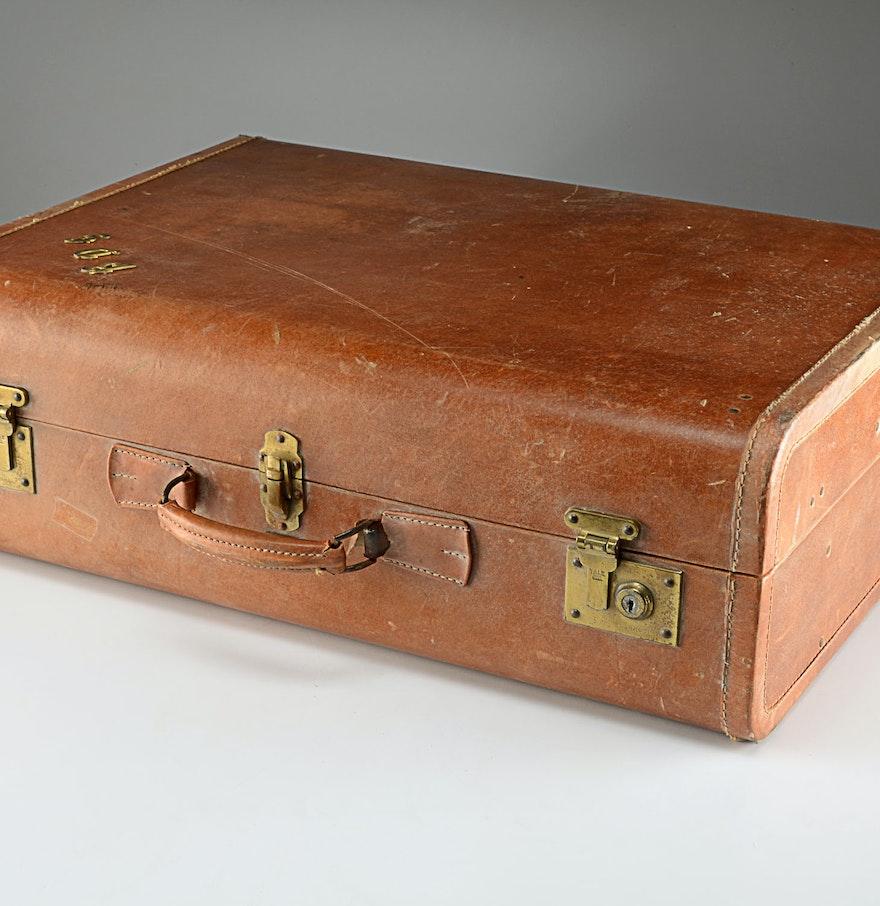 Vintage Oshkosh Leather Suitcase : EBTH