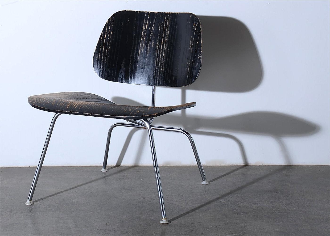 Vintage Herman Miller Black Molded Plywood Chair Ebth