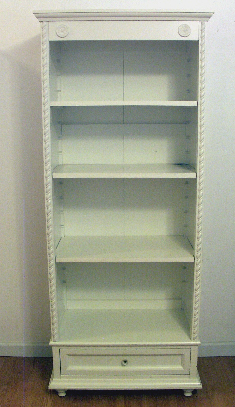 Elegant Simply Shabby Chic White Bookcase With
