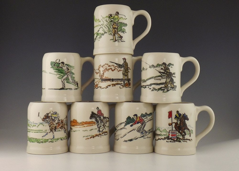 Collection of Paul Brown Stoneware Mugs