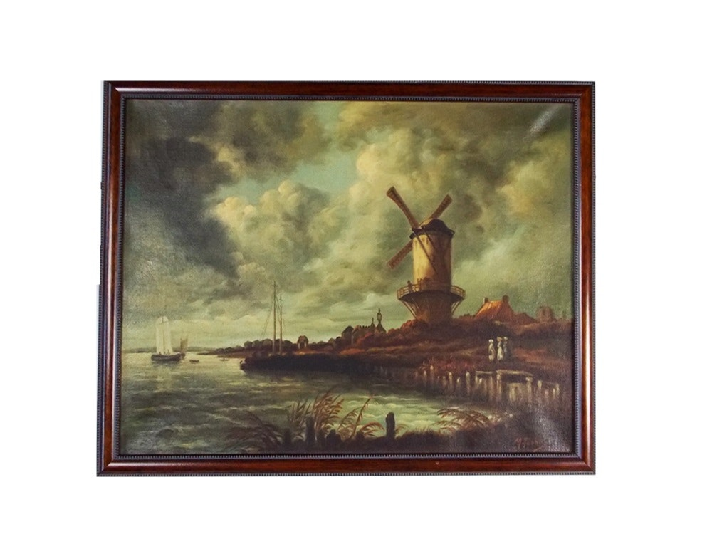 Dutch Windmill Oil Painting, Signed M. Tobbal : EBTH Dutch Windmill Painting