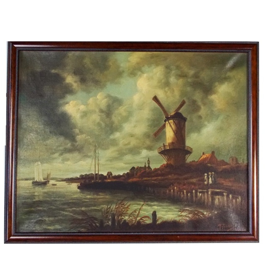 Dutch Windmill Oil Painting, Signed M. Tobbal : EBTH