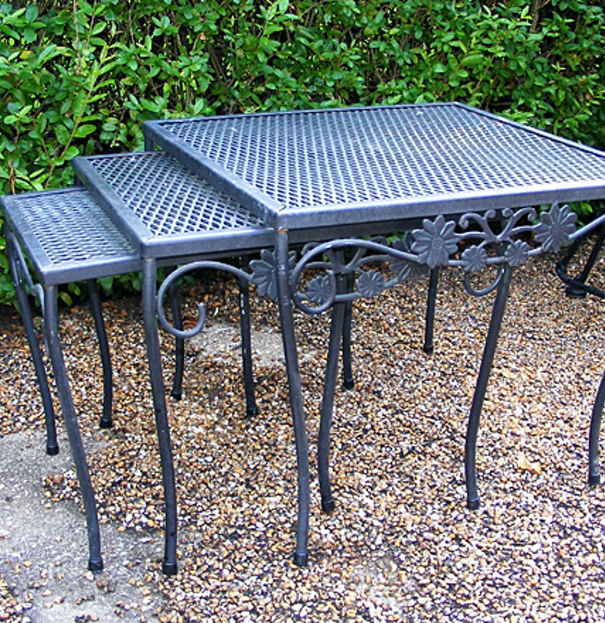 iron patio furniture nesting tables set of three ebth