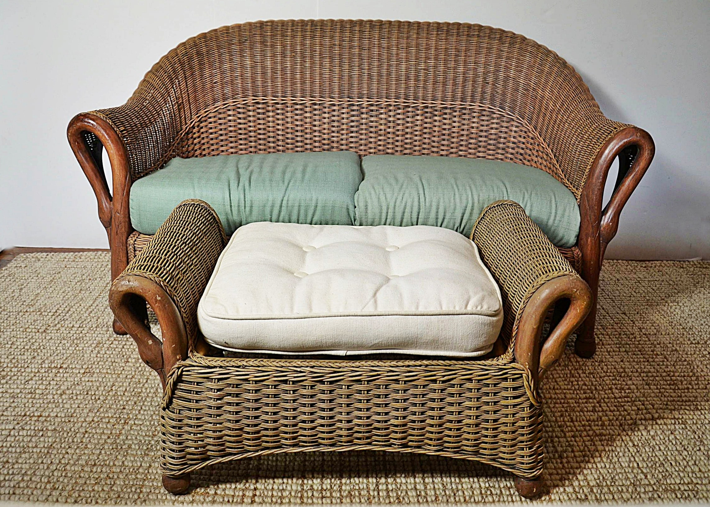 swan neck wicker love seat and ottoman
