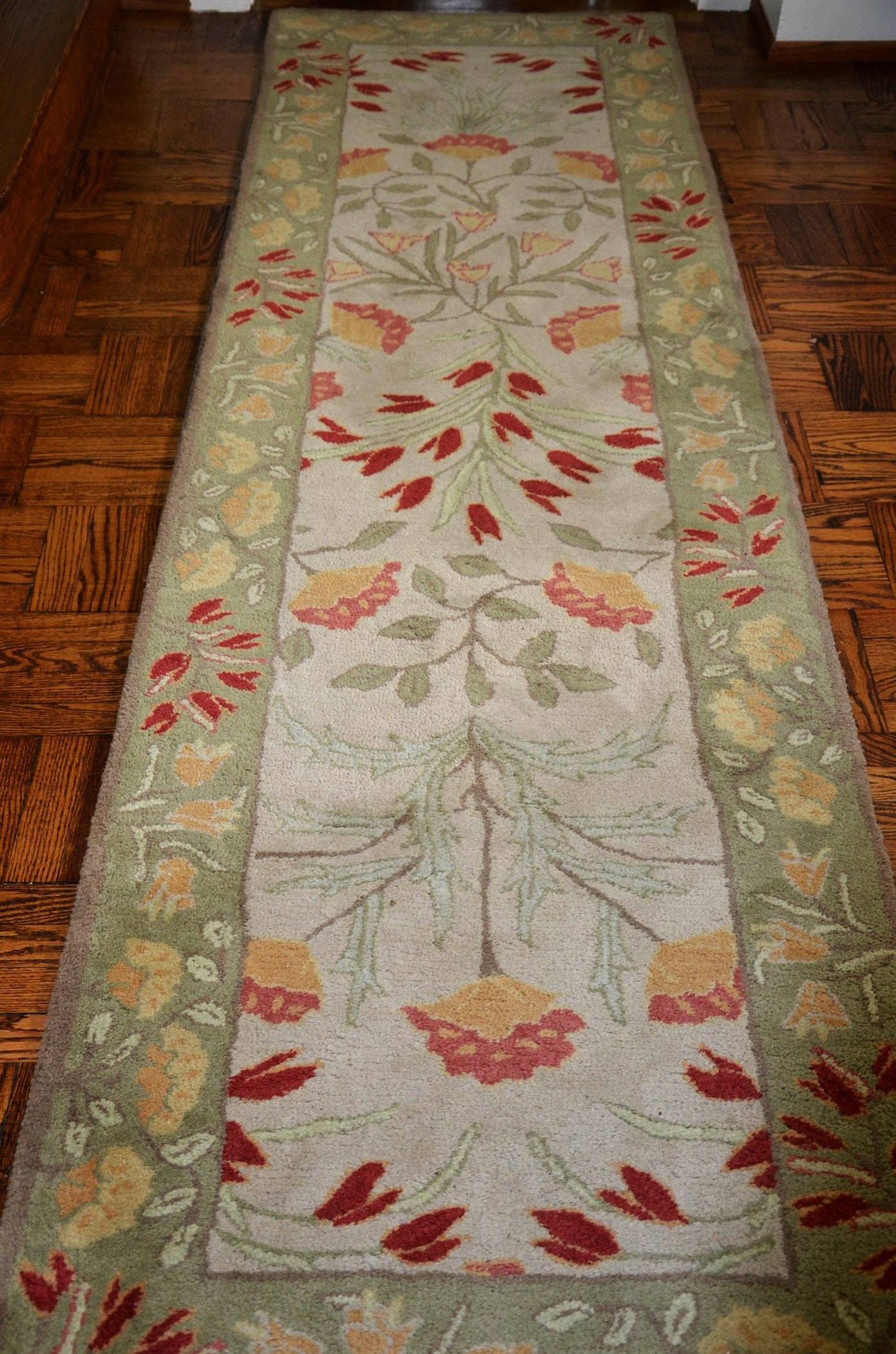 Pottery barn adeline sage wool runner rug ebth for Pottery barn carpet runners