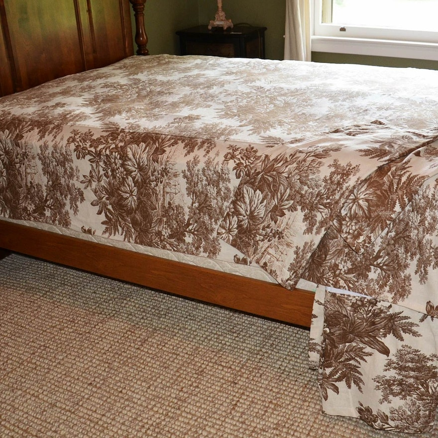Pottery Barn Matine Toile Full Queen Bedding Set
